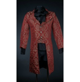 Mens Red Royal Victorian Tailcoat Gothic Brocade Jacket $6 To Ship