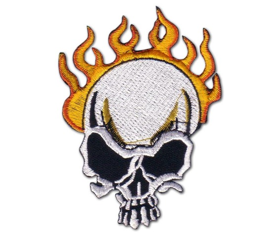 Biker Flame Skull Iron On Chopper Time Patch Badge .jpg