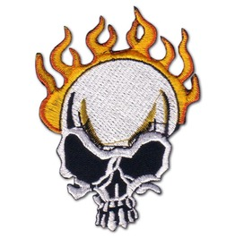 "Biker ""Flame Skull"" Iron Chopper Time Patch Badge"