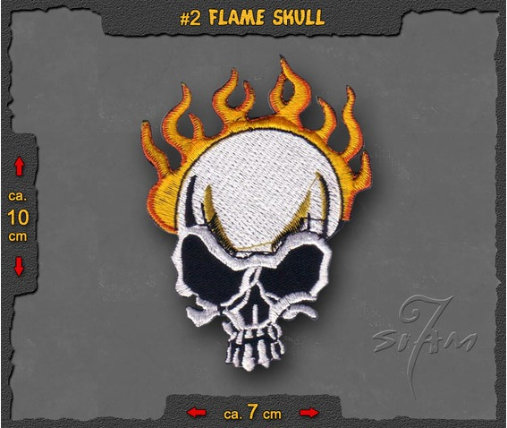 Biker Flame Skull Iron On Chopper Time Patch Badge.jpg