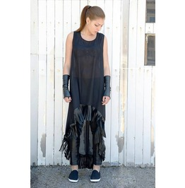 Sheer Long Tunic / Asymmetrical Chiffon Top / Leather Fringes Dress