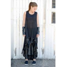 Sheer Long Tunic / Asymmetrical Chiffon Top / Leather Fringes Dress