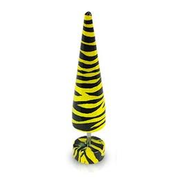 Tiger Print Acrylic Taper Pair Yellow Black Earrings