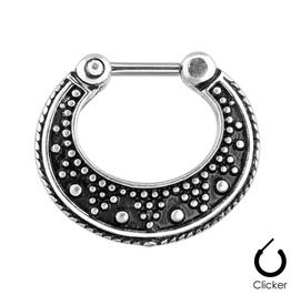 Dotted Pattern Black Two Tone 316l Surgical Steel Septum Clicker Ring Sep63