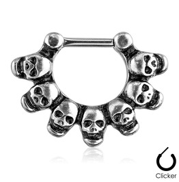 Linked Skulls 316l Surgical Steel Silver Toned Color Septum Clicker Ring