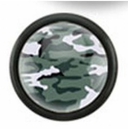 Black Acrylic Plugs Camouflage Print Inlayed Green White Earrings Pair