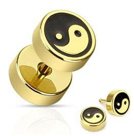 Gold Ip 316l Surgical Steel Yin Ying Yang Black Inlay Plugs