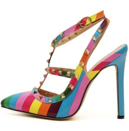 Pointed Toe Colorful Stripes Gold Rivets Thin High Heel Sandals