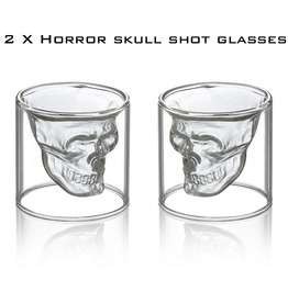 2x Gothic Skull Shot Glass , Shot Glass Set