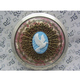 Bridesmaid Gift Compact Mirror Love Dove Comes Protective Pouch