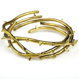 Thorn Bangle Brass Oxidized Antique Color