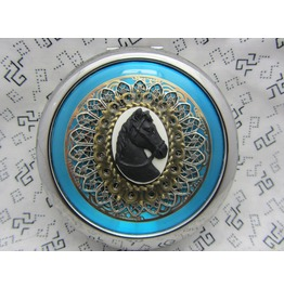 Compact Mirror Bridesmaid Gift Black Horse Comes Protective Pouch