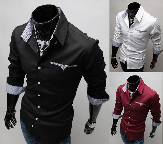 Black // Red // White Color Long Sleeve Shirt Men's Casual Shirts