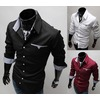 Black red white color long sleeve shirt mens casual shirts mens shirts 6