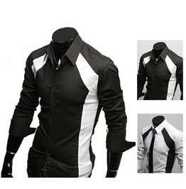 Men's Black / White Color Long Sleeve Shirt Men's Casual Shirts Shirt