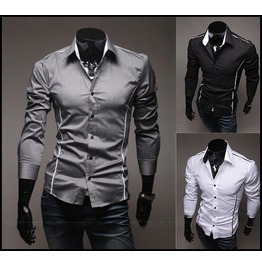 Black // Grey // White Long Sleeve Shirt Men's Casual Shirts
