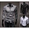 Black grey white long sleeve shirt mens casual shirts mens slim shirt shirts 8