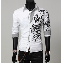 Mens Slim White Shirt Dragon Print Top Casual Long Sleeve Shirts S M L