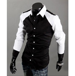 Mens Black Shirt Top Casual Long Sleeve