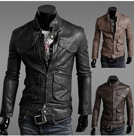 Multi Pocketed Leather Jacket Men New Black Brown Light Brown