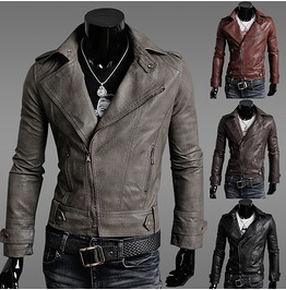 Leather Jacket Men's Gray Leather Jacket Men
