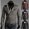 Mens gray leather jacket men jackets 2