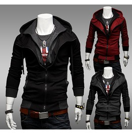Double Zipper Hood Rock Men's Grey // Red // Black Mens Man Hoodies