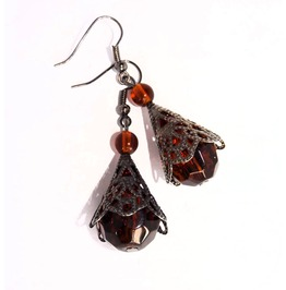 Handmade Steampunk Dangle Earrings Brown Beads