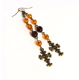 Handmade Gothic Brown Rosary Earrings