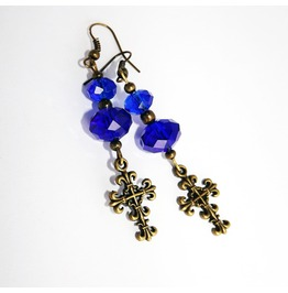 Handmade Blue Gothic Cross Earrings