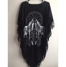 Animal Punk Hippie Batwing Tussle Fringes Stone Wash Poncho