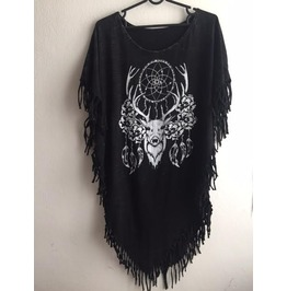 Deer Animal Fantasy Punk Hippie Batwing Tussle Fringes Stone Wash Poncho