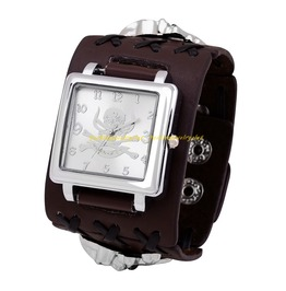Brown Leather Band Quartz Wrist Watch Men Women Punk Skull Digital Dial