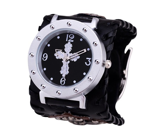 white_cross_rock_punk_leather_heavy_cuff_chain_skull_bracelet_wrist_watch_watches_3.JPG