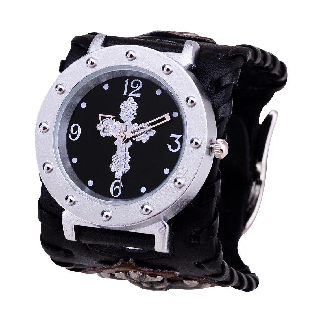 white_cross_rock_punk_leather_heavy_cuff_chain_skull_bracelet_wrist_watch_watches_3.JPG