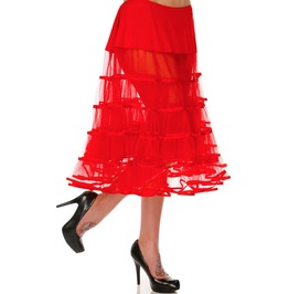 Voodoo Vixen Ginger Sheer Ruffle Retro Red Petticoat