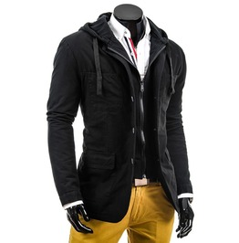 Mens Black/Blue Casual Hooded Jacket