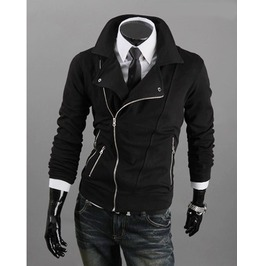 Mens Black/Gray/Light Gray Casual Zip Up Jacket