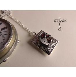 Steampunk Necklace, Steampunk Book Locket Necklace