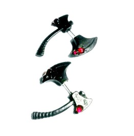 Ax Earrings Lizzie Borden Ax Through The Ear By Aunt Matilda's Jewelry Box