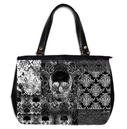 Quilted Look Skull Large Hand Bag Two Sided