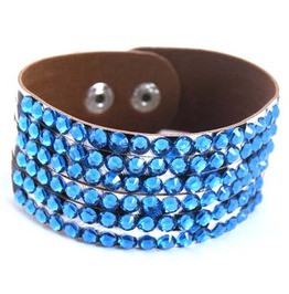 Sparkle, Leopard Leather Wristband Turquoise Blue Diamante's