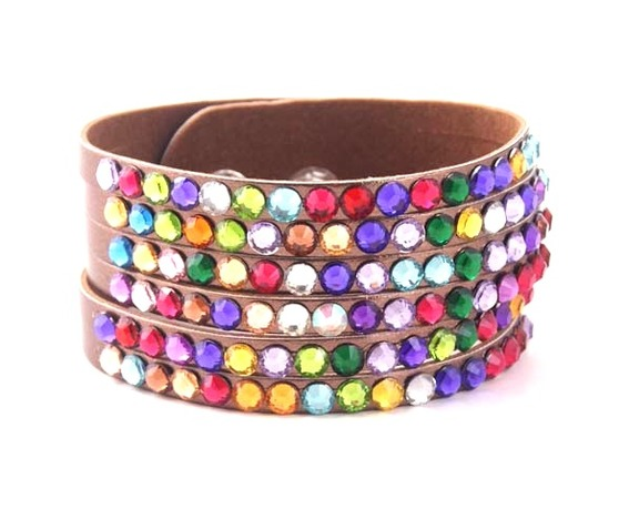 sparkle_gold_bronze_leather_wristband_colourful_rainbow_diamantes_wrist_and_sweatbands_2.jpg