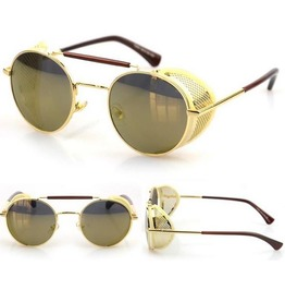 Steampunk Mirrored Wraparound Sunglasses Silver/Gold/Brown/Blue