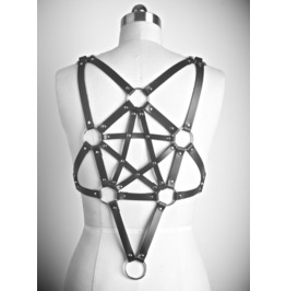 Steampunk Pentagram Leather Garters