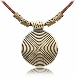 Vintage Circular Pattern Pendant Necklace