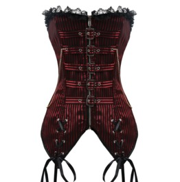 Lace Trim Red Black Stripes Overbust Corset