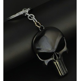 Large Jet Black Skull Head Keyring
