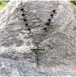 Handmade Black Gothic Christian Cross Necklace