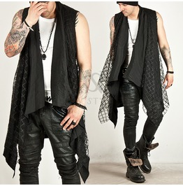Checkered Mesh Attached Draping Sleeveless Long Cardigan 47